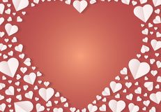 Many hearts  icon, Frame of white heart on the red background. Frame by paper cut of heart shape, Logo of valentine day and love symbol Stock Images
