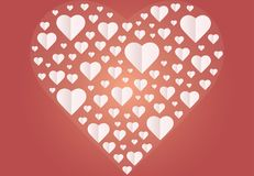 Many hearts  icon, Frame of white heart on the red background. Frame by paper cut of heart shape, Logo of valentine day and love symbol Royalty Free Stock Photo