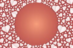 Frame by paper cut of heart shape, Logo of valentine day and love symbol. Many hearts  icon, Frame of white heart on the red background, Frame by paper cut of Stock Photos