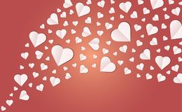 Many hearts  icon, White heart on the red background. Paper cut of heart shape, Logo of valentine day and love symbol Royalty Free Stock Photos