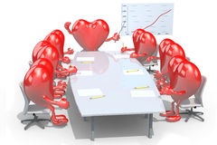 Many hearts meeting around the table Royalty Free Stock Image