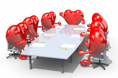 Many hearts meeting around the table Royalty Free Stock Photo