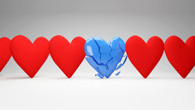 Many hearts and one broken Royalty Free Stock Images