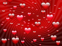 Many hearts on a red background. Royalty Free Stock Photos