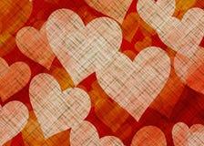 Many Hearts on Textile Texture Royalty Free Stock Photo