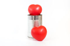 Many Hearts in tin can on white background,Leave space for addin Royalty Free Stock Photography
