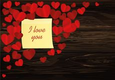 Many hearts with yellow sheet of paper for notes. Sticker. I lov. E you. Card for Valentine`s Day. Empty space for your advertising. Vector illustration on Stock Photos