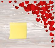 Many hearts with yellow sheet of paper for notes. Sticker. I lov. E you. Card for Valentine`s Day. Empty space for your advertising. Vector illustration on Stock Photo