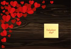 Many hearts with yellow sheet of paper for notes. Sticker. I lov. E you. Card for Valentine`s Day. Empty space for your advertising. Vector illustration on Royalty Free Stock Photography