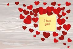 Many hearts with yellow sheet of paper for notes. Sticker. I lov. E you. Card for Valentine`s Day. Empty space for your advertising. Vector illustration on Royalty Free Stock Images