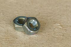 Many hex nuts. Are used in many industrial applications stock images