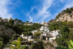 Homes up Hillside in Positano Royalty Free Stock Photography