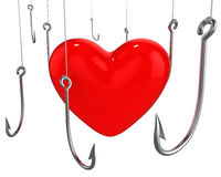 Many hooks trying to catch red heart Royalty Free Stock Photos