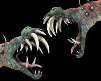 Many Horrible Halloween Monsters 1. Two horrible Halloween monsters with big teeth Royalty Free Stock Photography