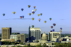 Many hot air ballons over the city of Boise Idaho. Hot air balloon festival over Boise Idaho Stock Photos