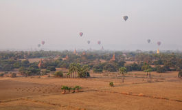 Many hot air balloons flying over the temples in Bagan, Myanmar Royalty Free Stock Image