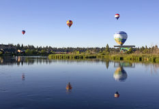 Many Hot Air Balloons Over Deschutes River Stock Image