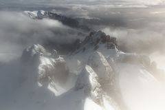 Mystic summits - aerial view stock images