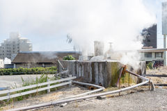 Many house around hot spring water boiling Royalty Free Stock Photo