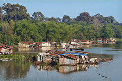 Many house boat on river Royalty Free Stock Image