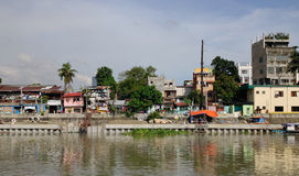 Many houses belong on the river in Inle, Myanmar Stock Photography