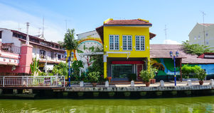 Many houses belong the river in Melaka, Malaysia Royalty Free Stock Photo