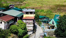 Many houses on the hill in Ifugao, Philippines Royalty Free Stock Photography