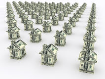 Many houses from the money. Business concept Royalty Free Stock Photography