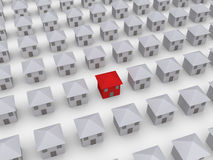 Many houses but one is different. Many 3d houses in rows but one is of different color Royalty Free Stock Photography