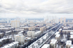 Many houses in residential district at winter cloudy day Royalty Free Stock Image