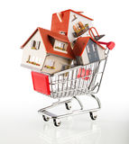 Many houses in shopping-cart Royalty Free Stock Image