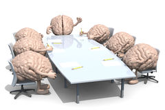 Many human brains meeting around the table Stock Images