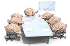 Many human brains meeting around the table Stock Image