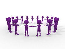 Many humans hand to hand in a circle Royalty Free Stock Image