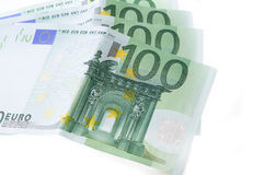 Many hundred euro banknotes european currency Stock Photos