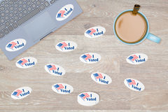 Many I Voted stickers on desk of hacker Royalty Free Stock Images