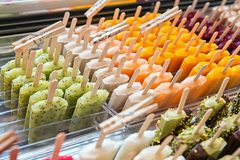 Many ice lollies. Different flavors Royalty Free Stock Images