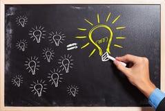 Many ideas make a big one. Business man drawing many small light bulbs equal a big one. many ideas make a big one stock image