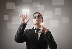 Many ideas. A man has got many ideas to develop Royalty Free Stock Images