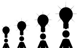 Many ideas. Men with light bulbs above their heads. It is a stick figure vector. EPS10 Royalty Free Stock Image