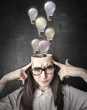 Many ideas out of her mind Royalty Free Stock Images