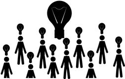 Many ideas. Vector / illustration. Many men with light bulbs, and a big light bulb in the middle Stock Images