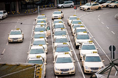 Many identical taxi Royalty Free Stock Photo