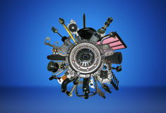 Many images of spare parts Stock Photos