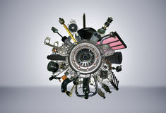 Many images of spare parts Royalty Free Stock Images