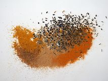 many spices including Ginger Curry Turmeric Chili pepper Black cumin Nigella sativa Stock Photo