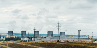 Many industrial cooling tower for atomic power station. air poll Stock Photography
