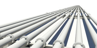 Many industrial pipes stretching into distance Stock Images