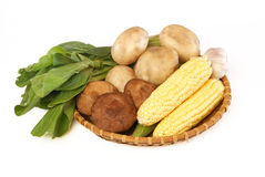 Many of the ingredients in a basket Stock Photo