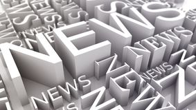 Many inscriptions news on a white background Stock Photography